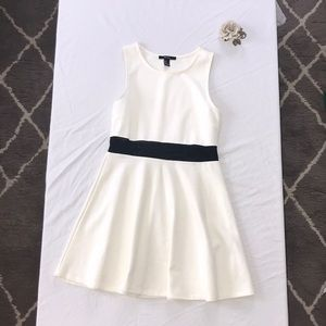 White dress with sheer black mid section